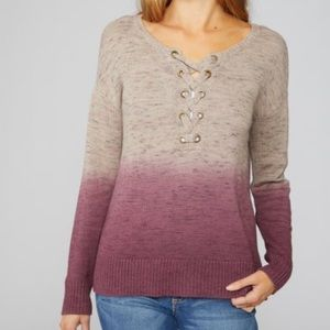 American Eagle Ombre Criss Cross Lace Up Sweater